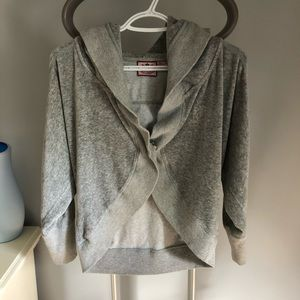 Juicy couture grey cropped velour sweater w/ hood